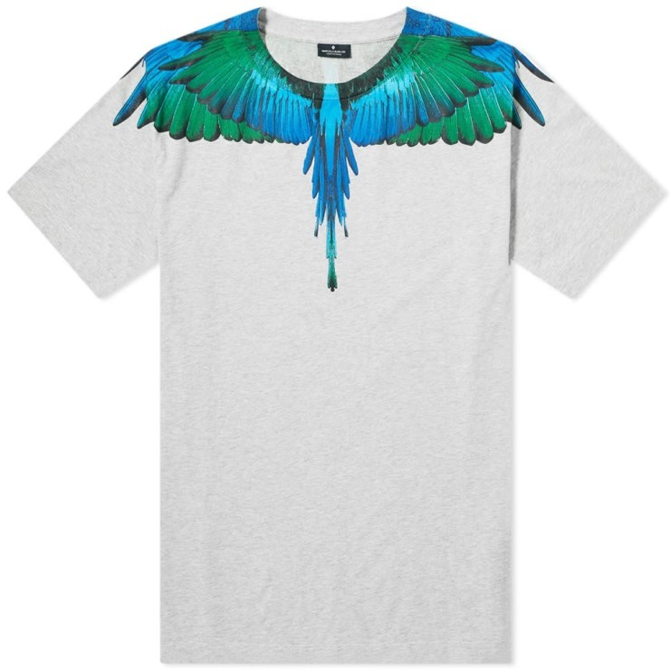 Marcelo Burlon Blue and Green Wings T-Shirt in Grey