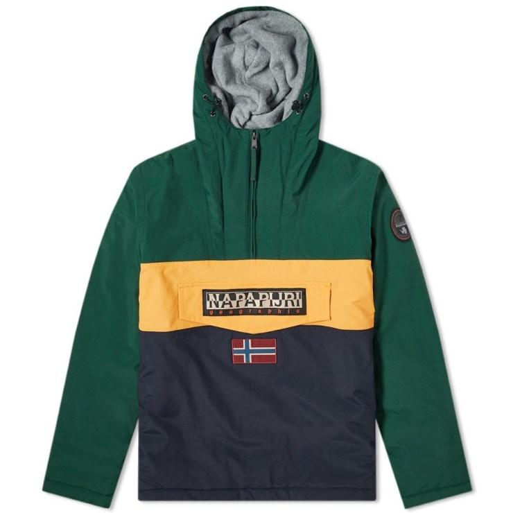 Napapijri Panelled Rainforest Winter Jacket in Green, Yellow & Navy