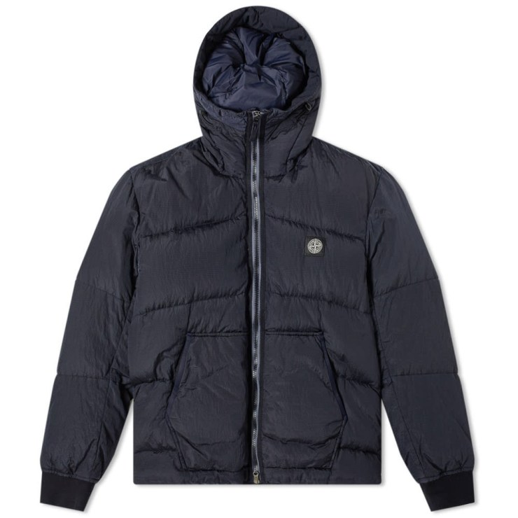 Stone Island Metal Nylon Watro Ripstop Jacket in Metallic Navy Blue