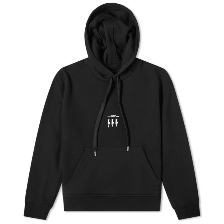 Neil Barrett Lightning Bolt Small Logo Hoody 'Black'