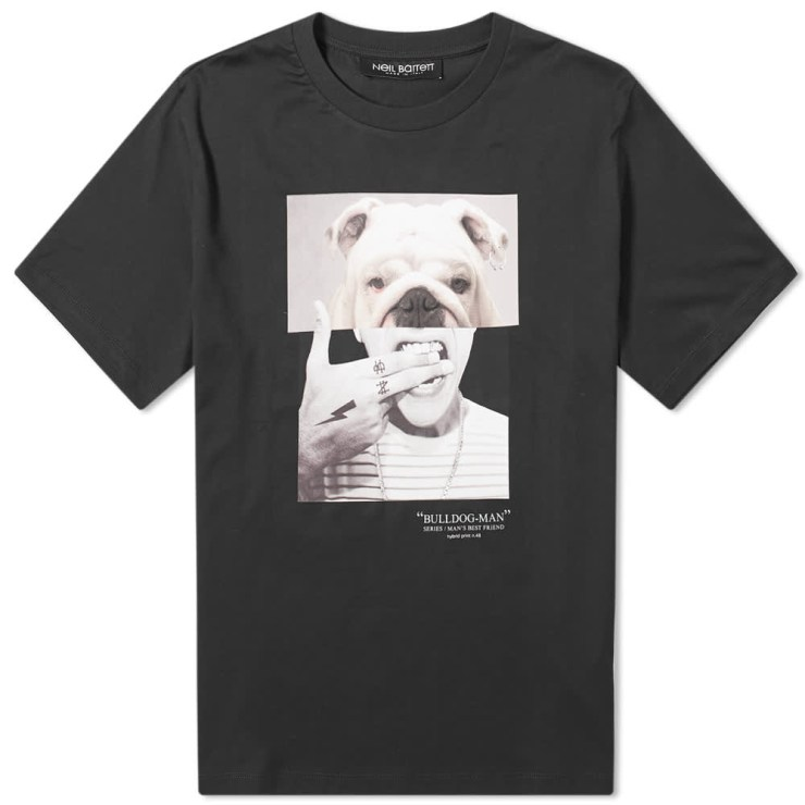 Neil Barrett Bulldog Man T-Shirt 'Black'