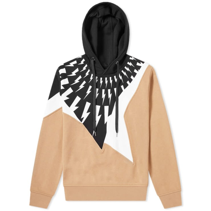 Neil Barrett Lightning Bolt Patchwork Hoody 'Camel'