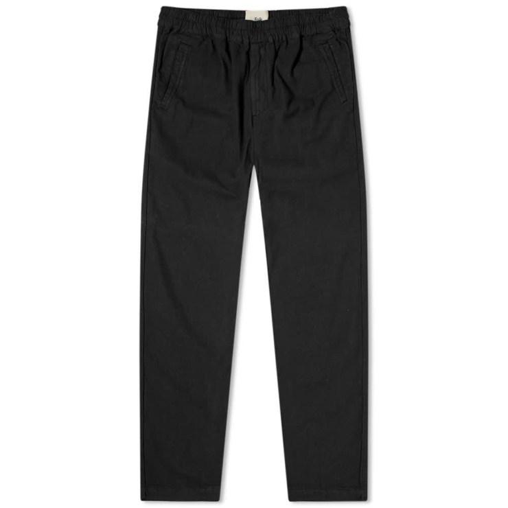 Folk Washed Cotton Linen Trousers 'Black'