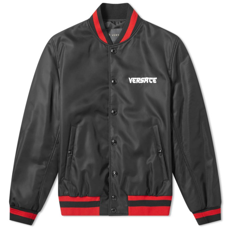 Versace Medusa Head Varsity Bomber Jacket 'Black & Red'