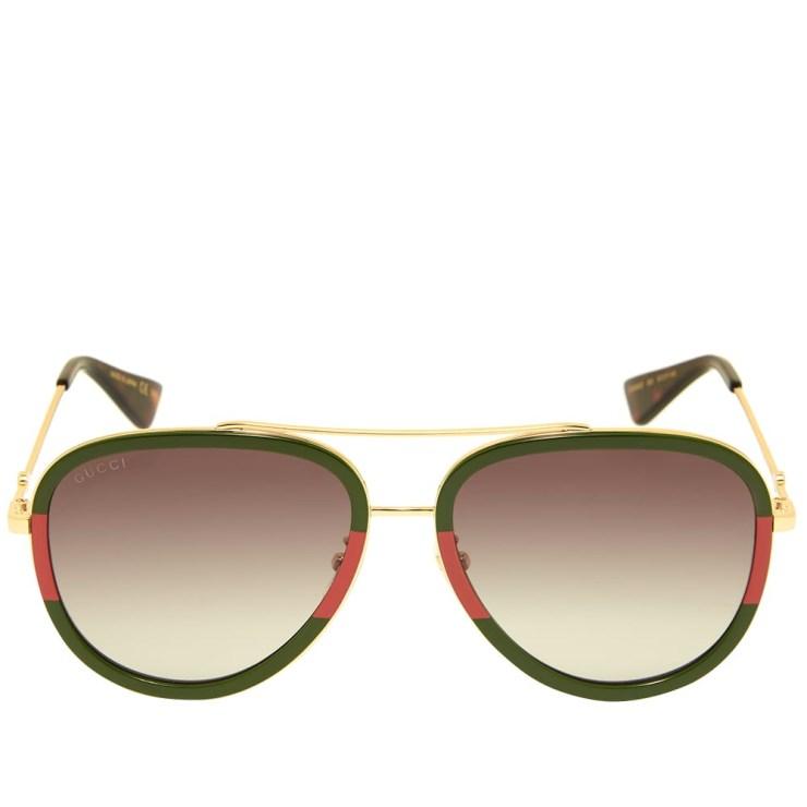 Gucci Sylvie Aviator Sunglasses 'Red, Green & Gold'