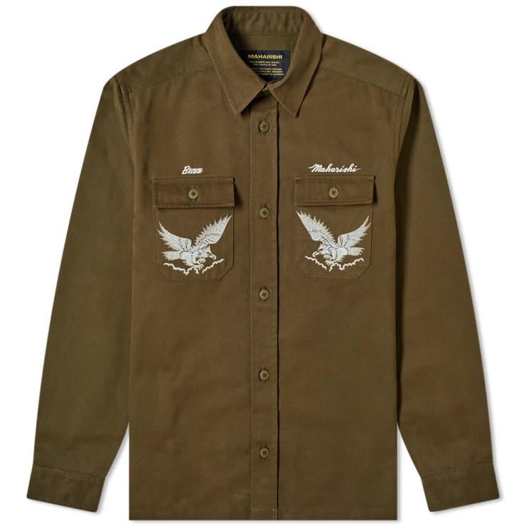 Maharishi Drone Eagle Tour Overshirt 'Dark Olive'