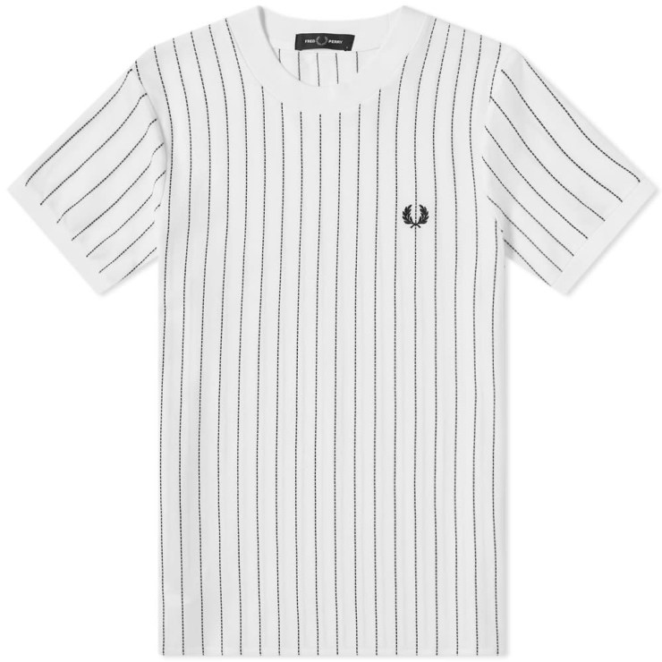 Fred Perry Vertical Stripe Pique T-Shirt 'Snow White'