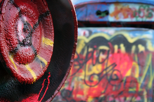 Layers of spray paint at Cadillac Ranch - Photo by Mrs. Padilly
