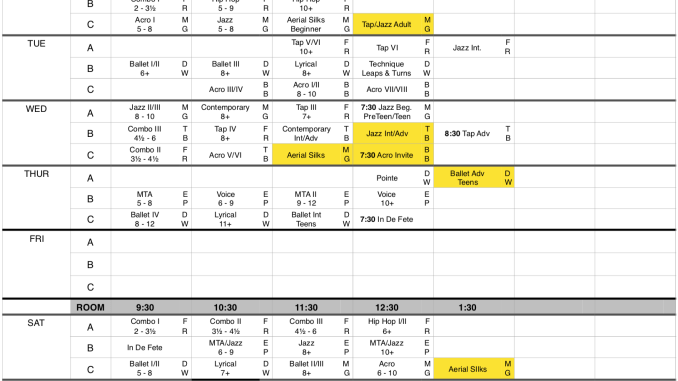 2018 - 2019 Schedule Updated 08/10/2018