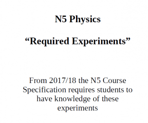Learn these Experiment – N5 (National 5)