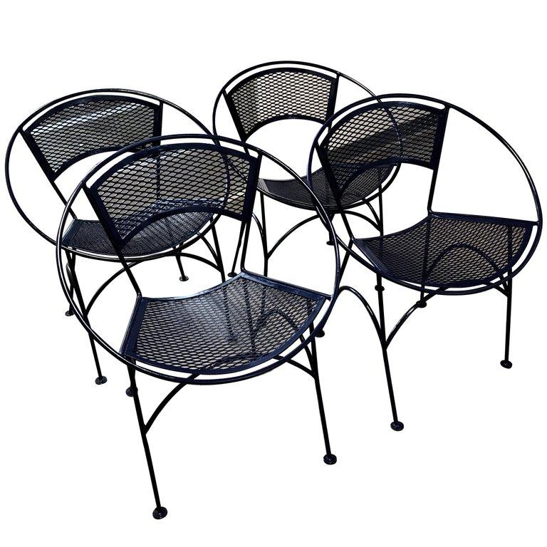 s 4 mid century modern john salterini wrought iron navy blue radar patio chairs