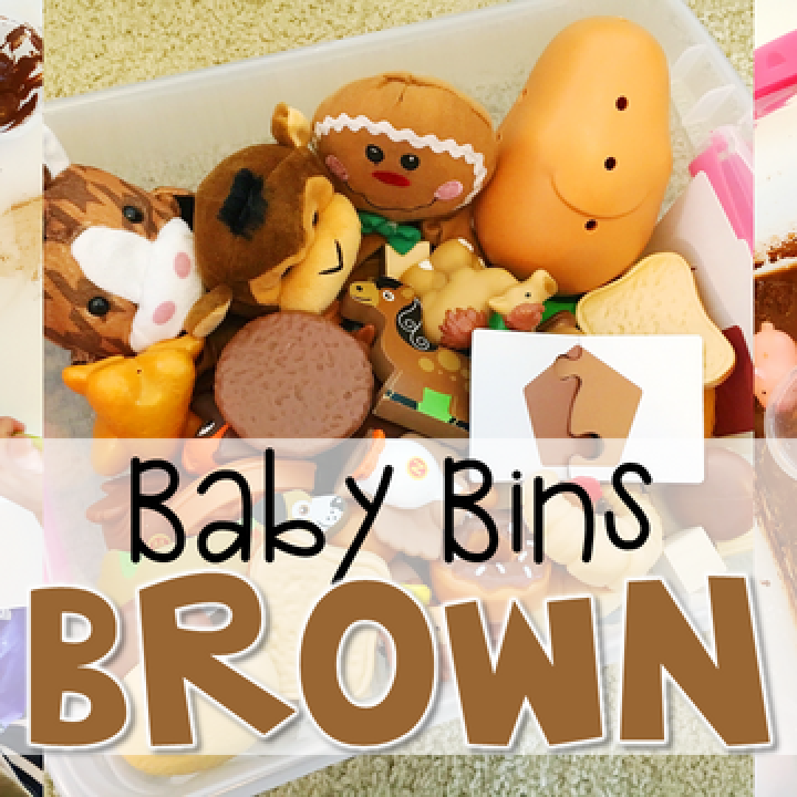 These brown themed sensory bins and activities are great for learning colors and completely baby safe. Baby Bins are the perfect way to learn, build language, play and explore with little ones between 12-24 months old.