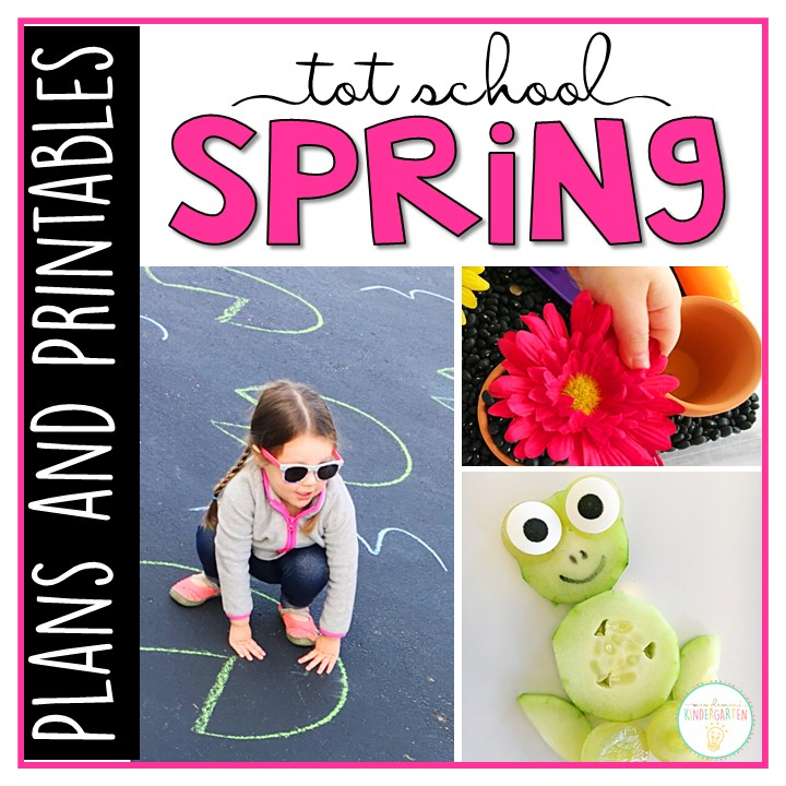Tons of spring themed activities and ideas. Weekly plan includes books, literacy, math, science, art, sensory bins, and more! Perfect for tot school, preschool, or kindergarten.