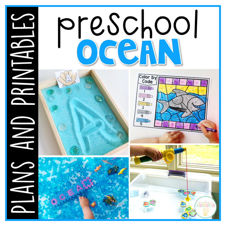 Tons of ocean themed activities and ideas. Weekly plan includes books, literacy, math, science, art, sensory bins, and more! Perfect for summer in tot school, preschool, or kindergarten.