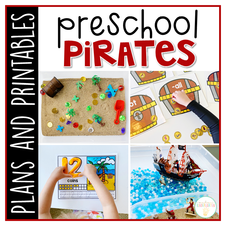 Tons of pirate themed activities and ideas. Weekly plan includes books, literacy, math, science, art, sensory bins, and more! Perfect for tot school, preschool, or kindergarten.