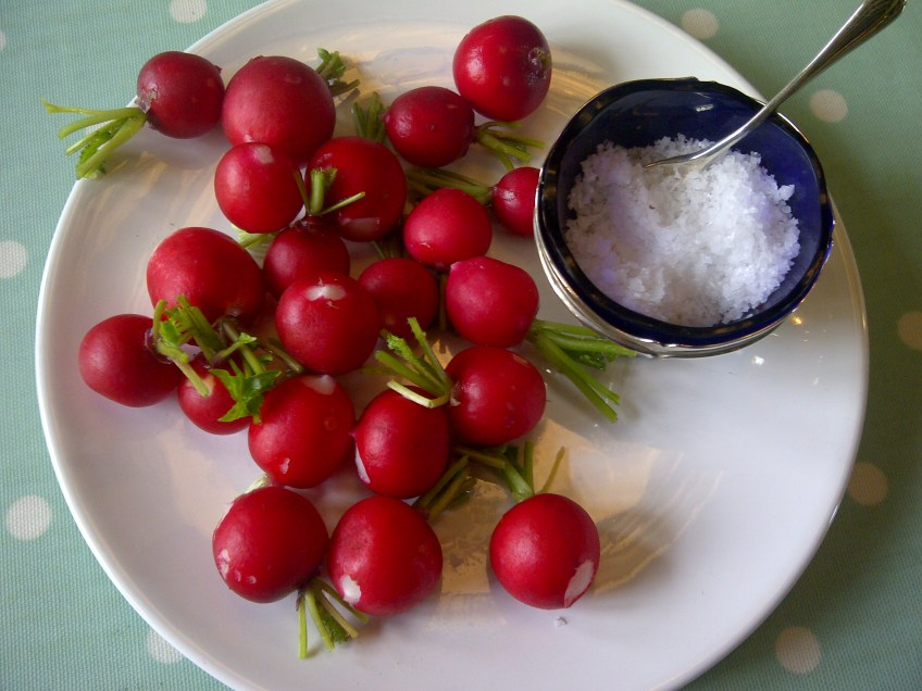 Image of red radishes and sea salt