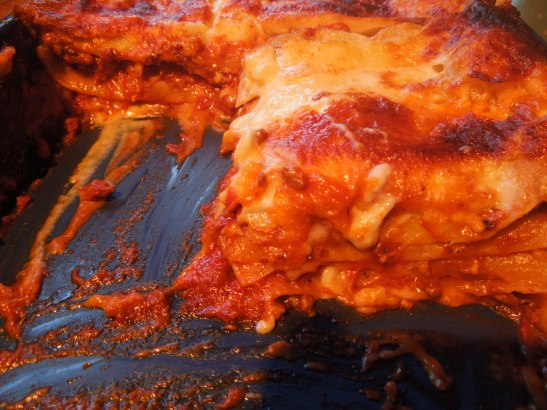 Image of lasagne, cut into