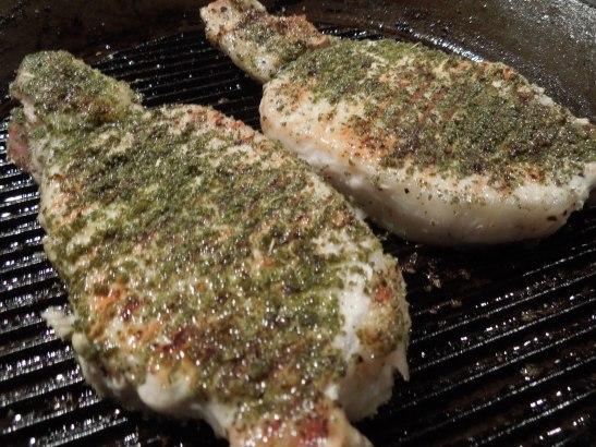 Image of pork chops on the griddle