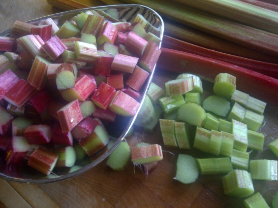 Image of rhubarb stems and chopped rhubarb