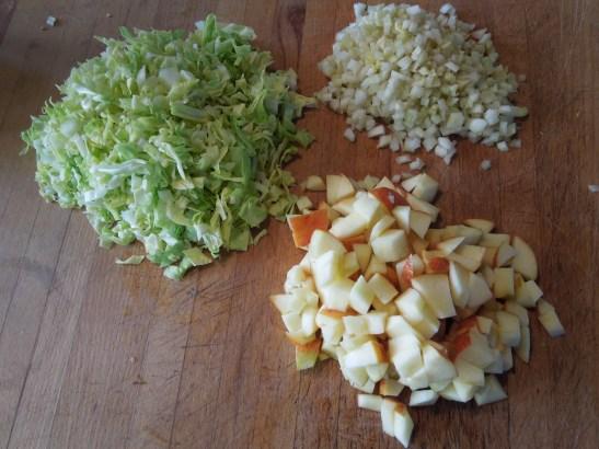 Image of coleslaw ingredients, chopped