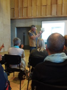 Image of Chris Brennan giving a lecture on sourdough starters