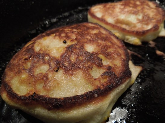 Image of sweetcorn fritters cooking