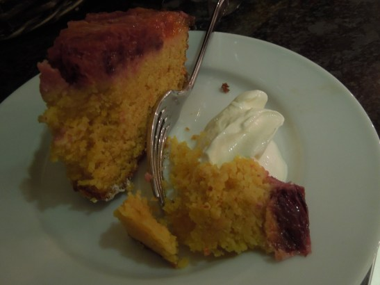 Image of slice of cake with creme fraiche