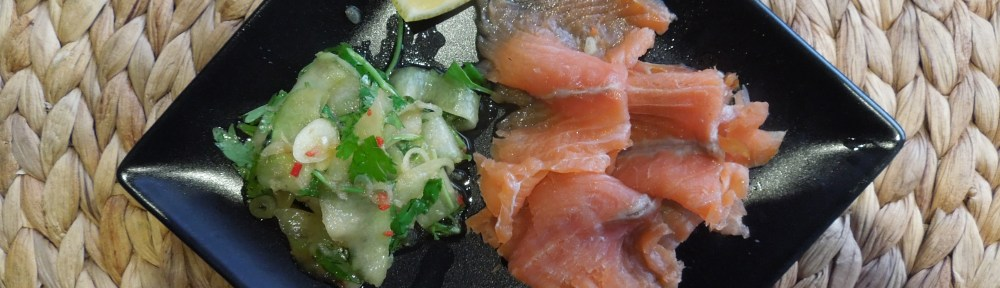 Image of smoked salmon with spicy cucumber salad