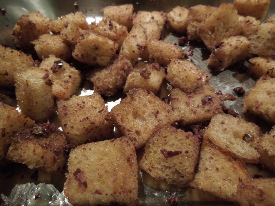 Image of olive croutons ready for the oven