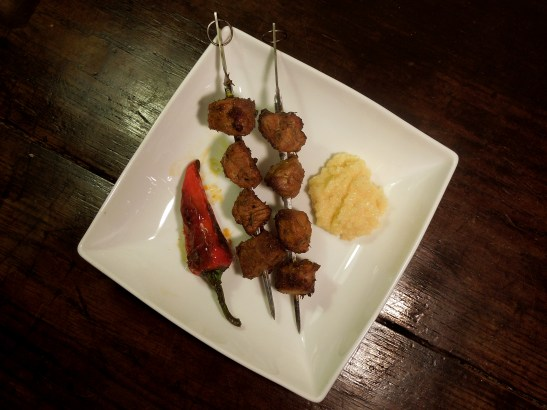 Image of kebabs with blistered pepper and quince allioli