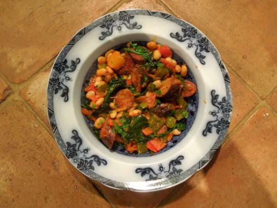 Image of a bowl of sausage and bean casserole