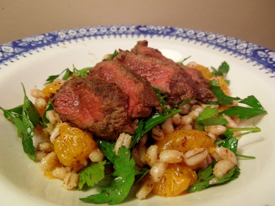Image of Seared Steak with Pearl Barley and Citrus