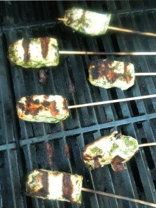 Image of halloumi on the barbecue