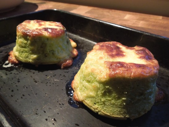 Image of twice-baked asparagus and goat's cheese souffles