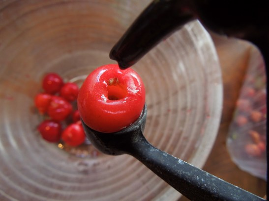 Image of cherries being stoned