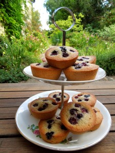 Image of friands on a cake plate