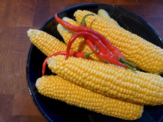 Image of corn cobs and chillies
