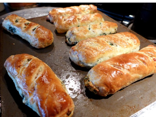 Image of spinach and ricotta rolls, cooked