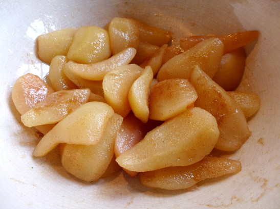 Image of pears tossed in sugar and spice