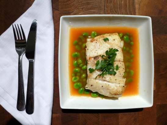 Image of Turbot with Tomato Broth and Spring Vegetables