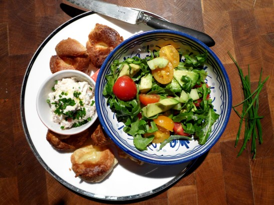 Image of mini Yorkshire puddings served with smoked trout pate and salad