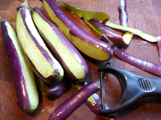 Image of aubergines peeled in stripes