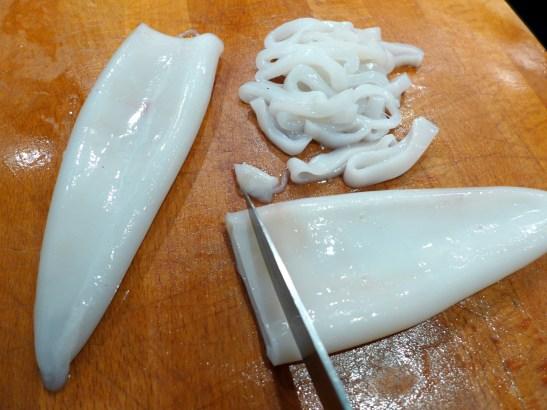 Image of squid being prepared
