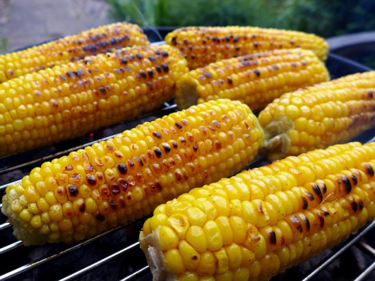 Image of sweetcorn on the barbecue