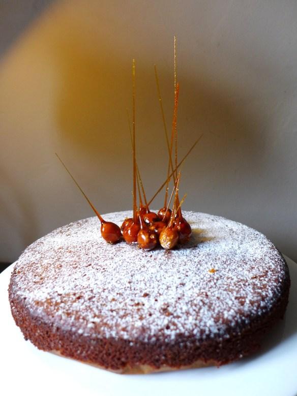 Image of honey and hazelnut cake with candied hazelelnuts