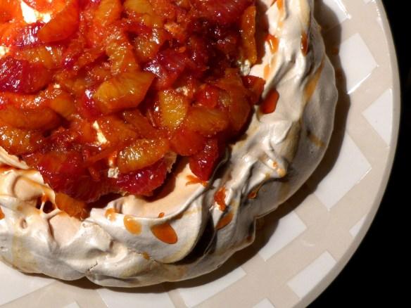 Image of pavlova with caramelised blood oranges