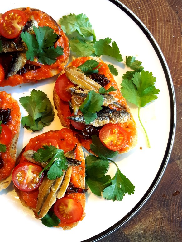 Image of bruschetta with peppers and smoked anchovies
