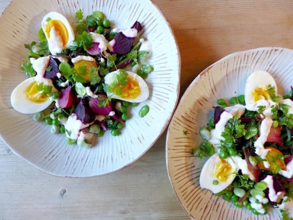 Image of baby beet salad, served
