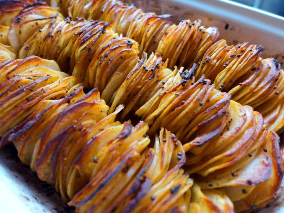 Image of spiced stacked potatoes, cooked