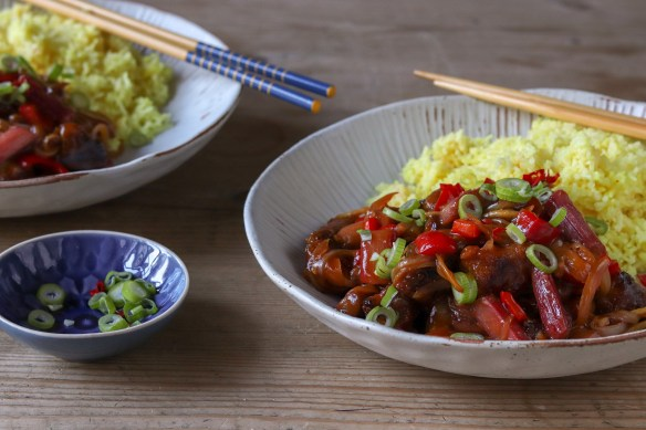 Image of sweet and sour pork with rhubarb